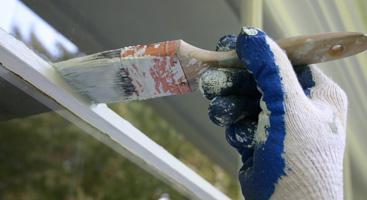 Painting Window Trim Closeup Banner