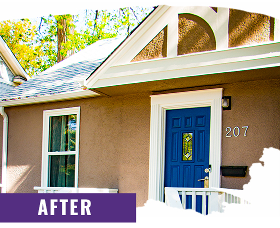Tan Stucco Home After Painting