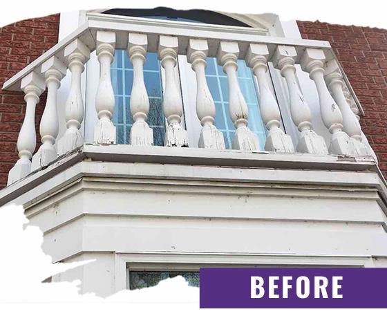 Exterior Balcony Closeup Before Painting