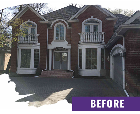 Brick Home With Exterior Balcony Before Painting